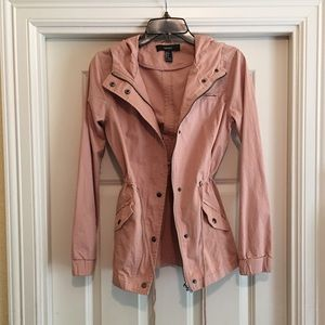 Forever 21 Rose Hooded Military Jacket
